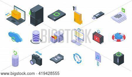 Backups Icons Set. Isometric Set Of Backups Vector Icons For Web Design Isolated On White Background
