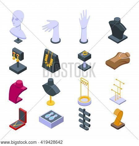 Jewelry Dummy Icons Set. Isometric Set Of Jewelry Dummy Vector Icons For Web Design Isolated On Whit