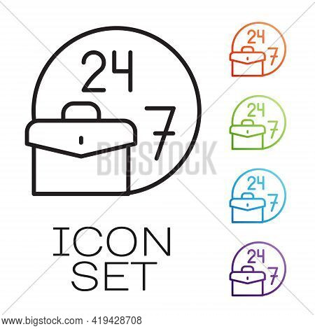 Black Line Always Busy Icon Isolated On White Background. Set Icons Colorful. Vector