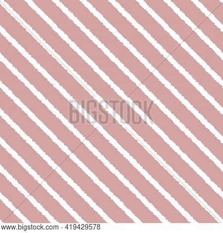 Dusty Pink And White Seamless Diagonal Striped Pattern, Vector Illustration. Seamless Pattern With R