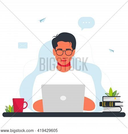 Man Working At Laptop. Work At Home Concept Design. Freelance Man Working On Laptop. Smiling Man Is