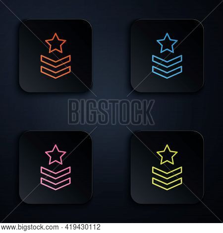 Color Neon Line Military Rank Icon Isolated On Black Background. Military Badge Sign. Set Icons In S