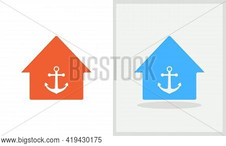 Anchor House Logo Design. Home Logo With Anchor Concept Vector. Anchor And Home Logo Design