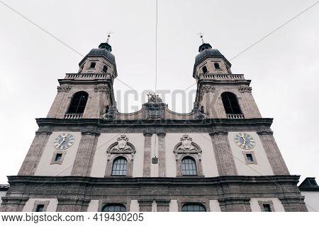Holy Trinity Jesuit Church Or Jeduitenkirche Zur Heiligen Dreifaltigkeit In Innsbruck, Tyrol, Austri