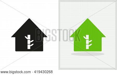 Bamboo House Logo Design. House Logo With Bamboo Concept Vector. Bamboo And Home Logo Design
