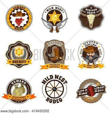 Cowboy Cartoon Labels Set With Wild West And Rodeo Symbols Isolated Vector Illustration