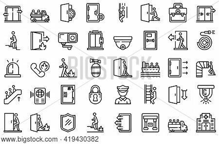 Human Evacuation Icons Set. Outline Set Of Human Evacuation Vector Icons For Web Design Isolated On