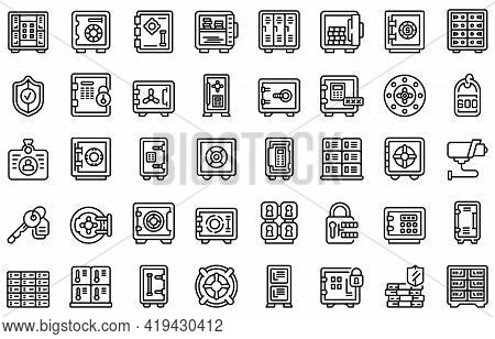 Deposit Room Icons Set. Outline Set Of Deposit Room Vector Icons For Web Design Isolated On White Ba