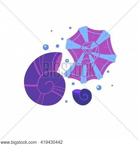 Cartoon Illustration Of Seashells With Bubbles With Doodle Ornament On A White Background. Flat Draw