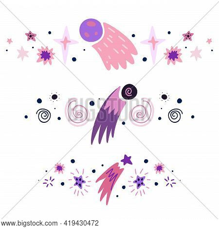 Set Of Spacers With Stars, Asteroid, Comet And Shooting Star. Vector Space Design Element. Hand Draw
