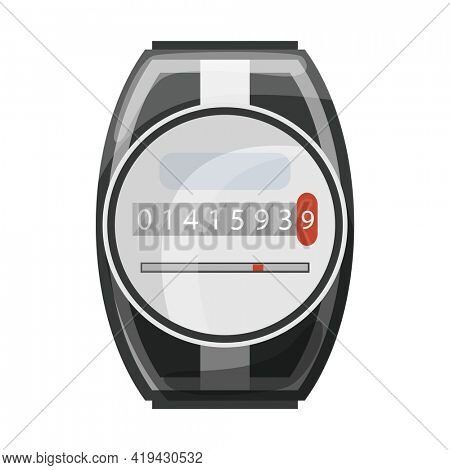 Meter counter. Electric power measurement. Electricity meter to record energy consumption. Isolated  cartoon icon on white background