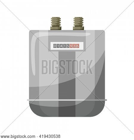 Meter counter. Gas power measurement. Fuel meter to record consumption. Isolated  cartoon icon on white background