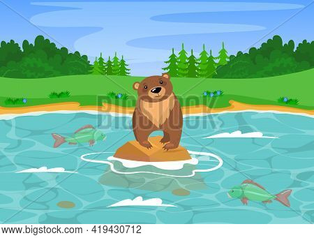 Wild Grizzly Bear Fishing In River. Cartoon Vector Illustration. Cute Wild Brown Bear Standing On St