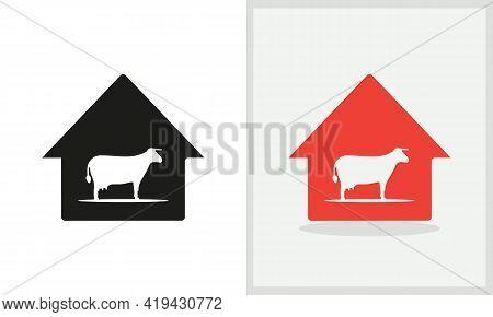 Cow House Logo Design. Agriculture Logo With Cow Concept Vector. Cow And Home Logo Design