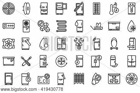 Refrigerator Repair Icons Set. Outline Set Of Refrigerator Repair Vector Icons For Web Design Isolat