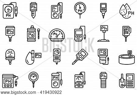 Ph Meter Icons Set. Outline Set Of Ph Meter Vector Icons For Web Design Isolated On White Background