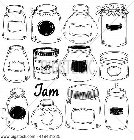 Vector Set Of Doodle Style Jars Of Different Shapes And Sizes. Black Jars With Labels.