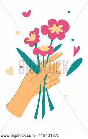 Elegant Female Hands Holding Flowers. Cut Flowers.  Decorative Bouquet, Floristic Composition With L
