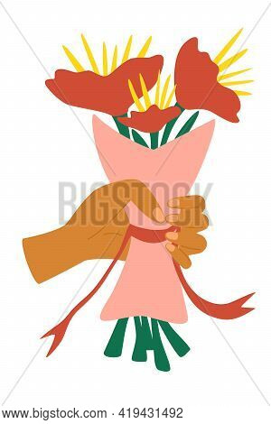 Hand Holding Bunch Of Flowers Wrapped In Craft Paper. Cartoon Flat Human Hand Holding Bunch Of Color
