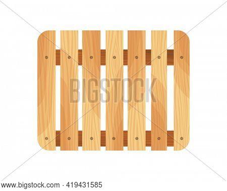 Wooden pallet. Platform for freight transportation. Cargo logistics and distribution. Cartoon wood pallet  icon for web design