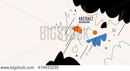 Abstract Background With Various Hand-drawn Elements In The Doodle Style. A Template For Placing You
