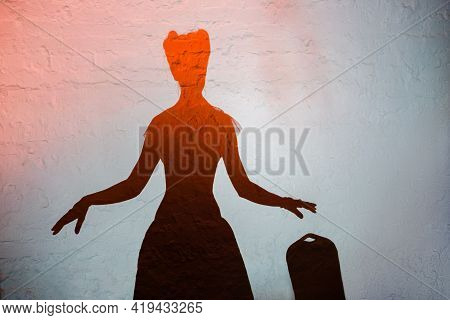 Silhouette Of Beautiful Girl Model Posing Against White Wall, Home Party Show