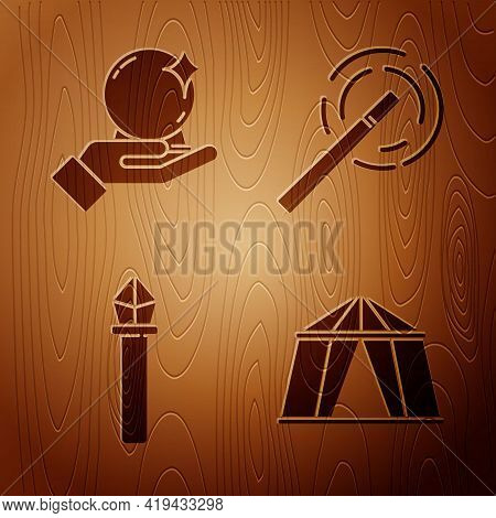 Set Circus Tent, Magic Ball On Hand, Magic Staff And Magic Wand On Wooden Background. Vector