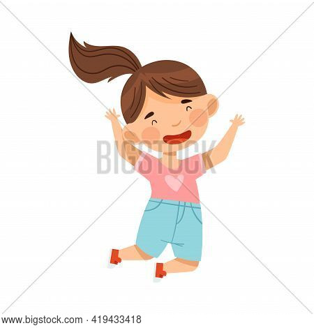 Cheerful Girl With Ponytail Jumping With Joy And Excitement Vector Illustration