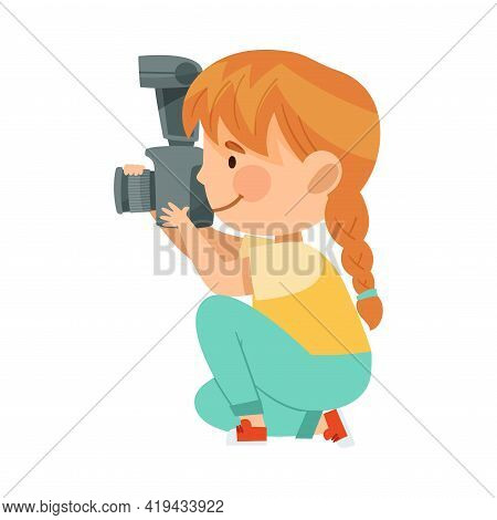 Redhead Girl Holding Camera And Taking Photo Vector Illustration
