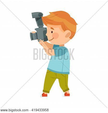 Redhead Boy Holding Camera And Taking Photo Vector Illustration