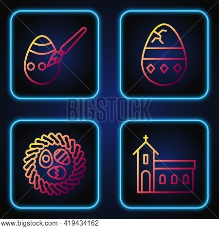 Set Line Church Building, Easter Egg In A Wicker Nest, Easter Egg And Paint Brush And Cracked Egg. G