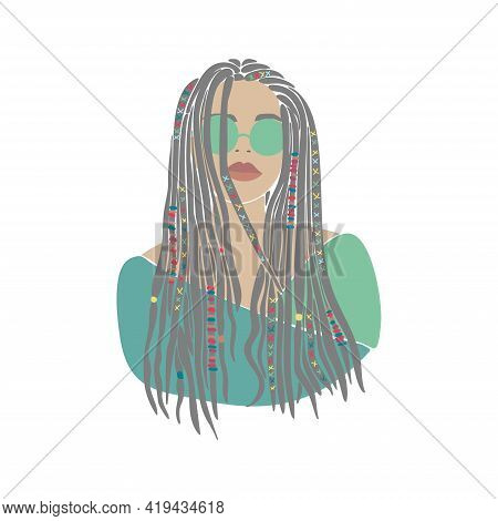 American Woman Braids Set African Drawn For Design. Young Lady Portrait. Oriental People. Boho Style