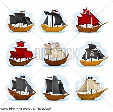 Pirate Sailing Ship With Square Rigged Masts Navigating Upon Water Vector Set