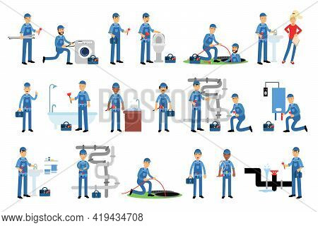Young Man Plumber Wearing Blue Overall Fixing Tubes And Pipe Lines Vector Illustration Set