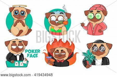 Pug Dog Cartoon Character Sticker Set. Flat Vector Illustration. Funny Puppy In Different Roles With