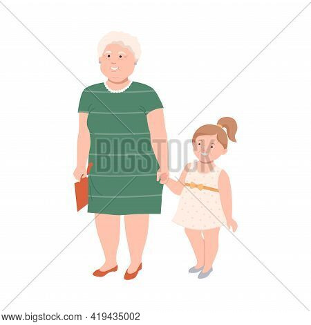 Senior Woman Character With Corpulent Body Holding Kid By The Hand In Standing Pose Full Length Vect