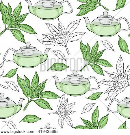 Seamless Pattern With Green Tea. Tea Leaves And Teapot, Vector. Tea Ceremony Background. Afternoon W