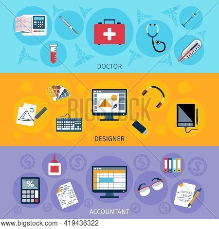 Workspace Horizontal Banner Set With Doctor Designer And Accountant Tools Isolated Vector Illustrati