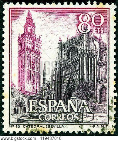 Spain - Circa 1965: A Stamp Printed In Spain Shows Cathedral And Giralda Sevilla Circa 1965