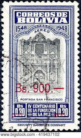 Bolivia - Circa 1957: Canceled Postage Stamp Printed By Bolivia, Shows The Cover Of The Cathedral Of
