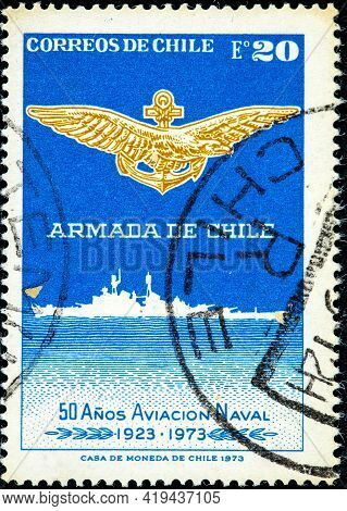 Chile - Circa 1973: Canceled Postage Stamp Printed By Chile, Shows The Cruise Ship Almirante La Torr