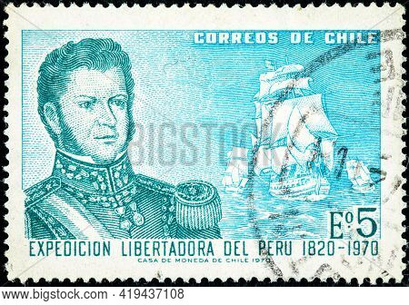 Chile - Circa 1971: Canceled Postage Stamp Printed By Chile, Shows Bernardo O'higgins On The 150th A