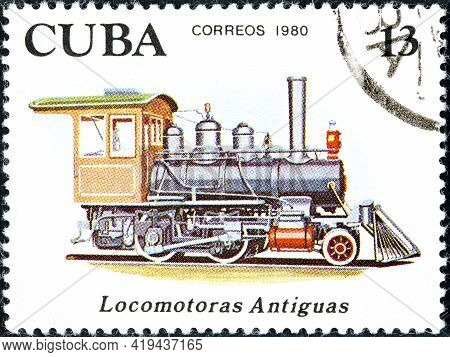 Cuba - Circa 1980: Canceled Postage Stamp Printed By Cuba, Shows Series Dedicated To Old Locomotives