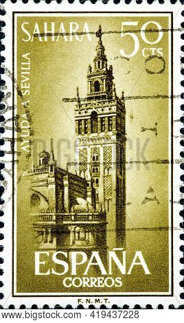 Spanish Sahara - Circa 1964: A Stamp Printed In Spain. Show: Image Of The Tower Of The Cathedral Of
