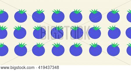 Blueberry Seamless Vector Border. Blueberries Repeating Horizontal Pattern. Hand Drawn Fruit Surface