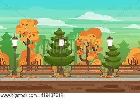 Computer And Handheld Electronic Devices Interactive Video Game Seamless Autumn Park Landscape Borde
