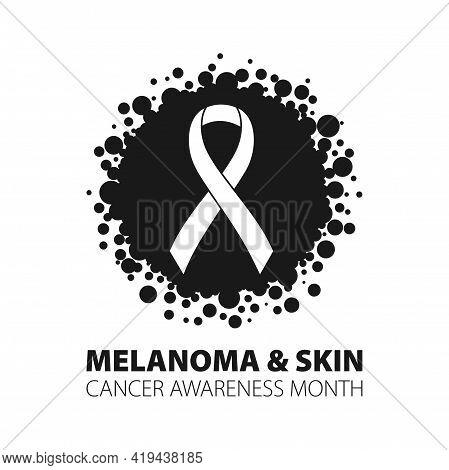 Melanoma Cancer Awareness Month Banner. Symbol Of The Fight Against Melanoma Cancer.