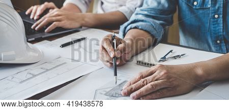 Construction And Structure Concept Of Engineer Or Architect Meeting For Project Working With Partner