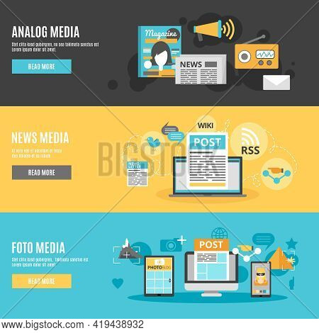 Media And Press Horizontal Banners Set With Photo Analog And News Media Symbols Flat Isolated Vector