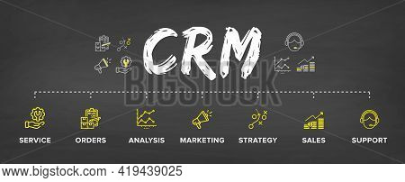 Crm - Customer Relationship Management Software Structure/ Module/ Workflow Vector Icon Construction